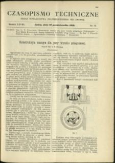 Czasopismo Techniczne : 1910 : nr 19