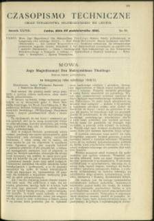 Czasopismo Techniczne : 1910 : nr 20