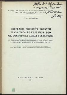 Korelacja poziomów ropnych piaskowca borysławskiego we wschodniej części Tustanowic