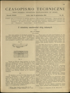 Czasopismo Techniczne : 1919 : nr 20