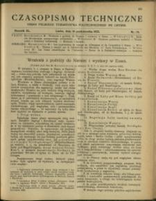 Czasopismo Techniczne : 1922 : nr 19