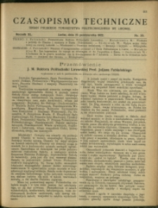 Czasopismo Techniczne : 1922 : nr 20