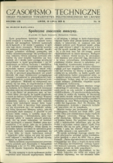 Czasopismo Techniczne : 1935 : nr 14