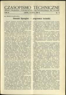 Czasopismo Techniczne : 1936 : nr 13