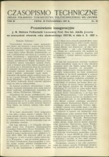 Czasopismo Techniczne : 1937 : nr 20