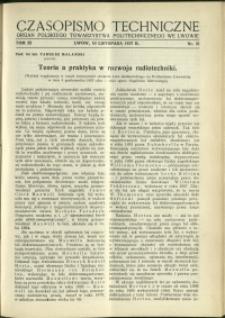 Czasopismo Techniczne : 1937 : nr 21