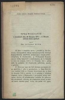 Sprawozdanie o kamykach dnia 20 sierpnia 1876 r. w Uhrynie podczas burzy spadłych
