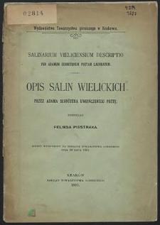Opis salin wielickich przez Adama Schrötera uwieńczonego poetę przekład Feliksa Piestraka